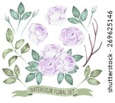 watercolor floral collection | Shutterstock .eps vector #269625146