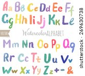 watercolor alphabet with... | Shutterstock .eps vector #269630738