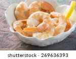 fresh cooked shrimps  in a... | Shutterstock . vector #269636393