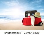 beach with landscape of sea and ...   Shutterstock . vector #269646539