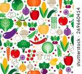 bright vegetable set in flat...   Shutterstock .eps vector #269660414