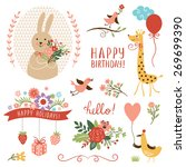 holiday set. birthday card... | Shutterstock .eps vector #269699390
