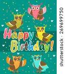 funny owl. cute owl set. vector ... | Shutterstock .eps vector #269699750