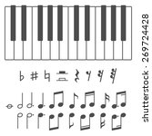 black and white piano keys and... | Shutterstock .eps vector #269724428
