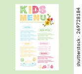 kids menu. vector template. | Shutterstock .eps vector #269728184