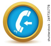 gold incoming call icon on a...