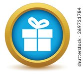 gold gift icon on a white...
