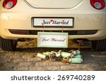 "wedding car with a plate ""just... 