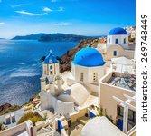 santorini blue dome churches ... | Shutterstock . vector #269748449
