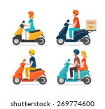 Scooter Riding Icons Set...
