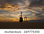 silhouette guitar with chair at ... | Shutterstock . vector #269775350