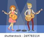 couple singer guitarist in blue ... | Shutterstock .eps vector #269783114