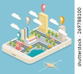 isometric town map with gps... | Shutterstock .eps vector #269788100