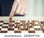 hand of a man picking up and... | Shutterstock . vector #269859710