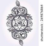 vintage hand drawn masonic...   Shutterstock .eps vector #269876864