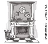hand drawn fireplace. a cozy...   Shutterstock .eps vector #269881766