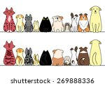Stock vector dogs and cats in a row with copy space front and back 269888336