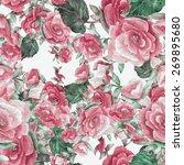 watercolor begonia floral ... | Shutterstock . vector #269895680
