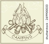 vector sketch of campfire with... | Shutterstock .eps vector #269900033