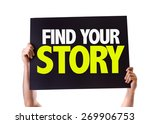 Small photo of Find Your Story card isolated on white