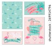 romantic flamingo birds on mint ... | Shutterstock .eps vector #269914796