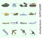 Army Icons Set With Tank...