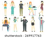 people with smart phone flat... | Shutterstock .eps vector #269917763
