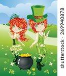 cartoon leprechaun boy and girl ... | Shutterstock .eps vector #269940878