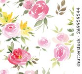 watercolor flowers. seamless... | Shutterstock .eps vector #269959544