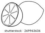 one lemon and one half of lemon ... | Shutterstock .eps vector #269963636