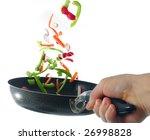 flipping veggies with pan...   Shutterstock . vector #26998828