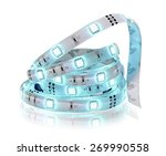 Small photo of Led stripe in coil isolated on white.Diode glowing strip.