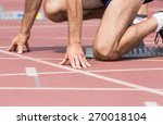 track runner ready to go into a ... | Shutterstock . vector #270018104