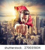businessman superhero flies... | Shutterstock . vector #270035834