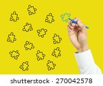businessman is drawing puzzles... | Shutterstock . vector #270042578