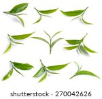 green tea leaf isolated on... | Shutterstock . vector #270042626