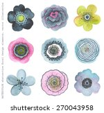 Stock vector collection colorful watercolor flowers abstract in vintage style 270043958