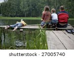 fishing with dad. three kids... | Shutterstock . vector #27005740