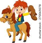 cowboy riding a horse | Shutterstock .eps vector #270065078