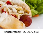 Grilled Hot Dog With Sauerkrau...