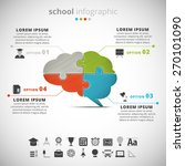 Stock vector vector illustration of school infographic with brain made of puzzle 270101090