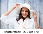smiling beautiful brunette... | Shutterstock . vector #270105470