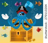 funny pirate octopus squid with