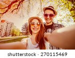 selfie with smartphone  happy... | Shutterstock . vector #270115469