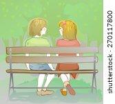 couple of friendly kids sitting ... | Shutterstock . vector #270117800