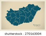 modern map   hungary with... | Shutterstock .eps vector #270163004