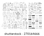 big hand drawn collection of... | Shutterstock .eps vector #270164666