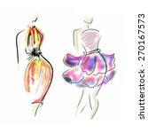 fashion girl sketch illustration   Shutterstock . vector #270167573
