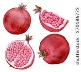 vector watercolor pomegranate... | Shutterstock .eps vector #270186773