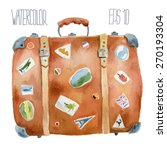 travel suitcase with stickers.... | Shutterstock .eps vector #270193304